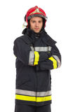 Serious firefighter posing Royalty Free Stock Image