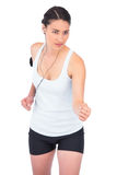 Serious fit model jogging Royalty Free Stock Image