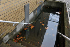 Serious flooding in the buildings. BROOKLYN, NY - OCTOBER 29: Serious flooding in the buildings at the Sheepsheadbay neighborhood due to impact from Hurricane Royalty Free Stock Photo