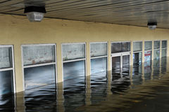 Serious flooding in the buildings. BROOKLYN, NY - OCTOBER 29: Serious flooding in the buildings at the Sheepsheadbay neighborhood due to impact from Hurricane Royalty Free Stock Photography