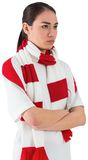 Serious football fan in white Stock Images