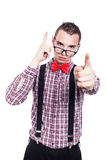 Serious geek pointing Royalty Free Stock Photos