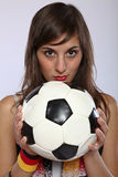 Serious German Soccer Fan Girl Stock Photography