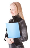 Serious girl blonde with folder Royalty Free Stock Images