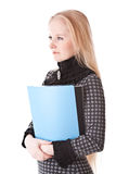 Serious girl blonde with folder Royalty Free Stock Image