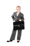 The serious girl in a business suit with a bag Royalty Free Stock Images