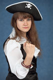 Serious girl in costume of sea pirate Royalty Free Stock Photos