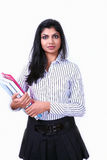 Serious girl with documents Royalty Free Stock Image
