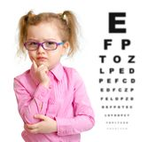 Serious girl in glasses with eye chart isolated. On white royalty free stock image