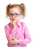 Serious girl in glasses isolated royalty free stock photos