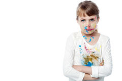 Serious girl with paint on face Stock Photography