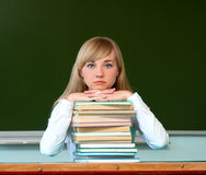 Serious girl with school books Stock Images