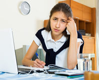 Serious girl study at home Royalty Free Stock Image