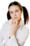 Serious girl on white Royalty Free Stock Photography