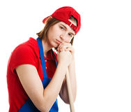 Serious Girl in Work Uniform Stock Images