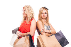 Serious girls shopping Royalty Free Stock Photos