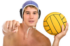 Serious guy pointing. Aquatic player with a ball isolated on white Royalty Free Stock Image