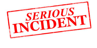 Serious incident. Rubber stamp with text serious incident inside,  illustration Stock Photos