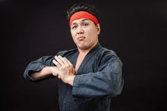 Serious Karate man in karate position royalty free stock photography