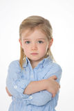 Serious kid on white background Stock Photo