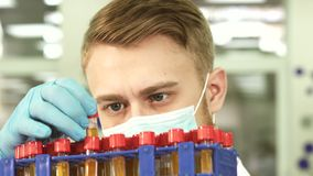 A serious lab technician studies test tubes with assays. A face mask is worn on the laboratory worker. He stands in the lab. In his hands he holds test tubes stock video