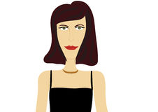 Serious lady in evening dress. Serious looking fictional lady cartoon character in black evening dress portrait Royalty Free Stock Photography