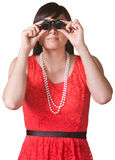 Serious Lady with Jewelers Glasses Royalty Free Stock Photos