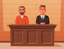 Serious lawyer sits by the table in courthouse with defendant. Cartoon vector illustration. Character design. Justice concept. Law judicial legal proceedings Royalty Free Stock Photo