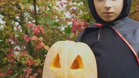 Serious little boy holding jack-o-lantern, scary Halloween party, childhood. Stock footage stock footage