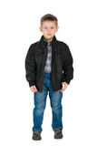 Serious little boy in a jacket Stock Image