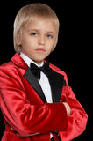 Serious  little boy in a tuxedo Royalty Free Stock Photos