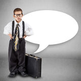 Serious little business boy Royalty Free Stock Photo