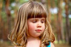 Serious little girl in a summer forest Royalty Free Stock Photo