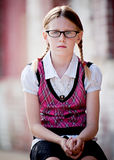 Serious Little Girl wearing Glasses Stock Photos