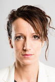 serious woman portrait real people high definition grey background royalty free stock image