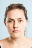 serious woman portrait real people high definition green background royalty free stock photography