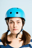 Funny woman wearing cycling helmet portrait real people high def Royalty Free Stock Images