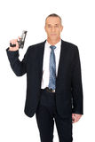 Serious mafia agent with handgun Royalty Free Stock Photography