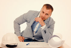 Serious Male Engineer Looking at the Camera Royalty Free Stock Photo