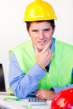 Serious male with hard hat Stock Photos