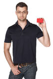 Serious male showing red card in hand Royalty Free Stock Photos