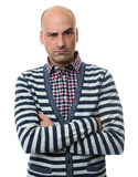Serious man with arms folded. Isolated Royalty Free Stock Images