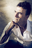 Serious man. Beautiful Italian adult male. Outdoor Stock Images