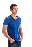 Serious man blank blue t shirt Stock Images