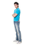 Serious man in blue t-shirt Stock Photo