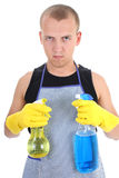 Serious man with cleaning spray Royalty Free Stock Photos