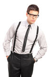 Serious man in fashionable clothes Stock Image