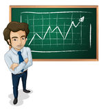 A serious man in front of the board Stock Photography
