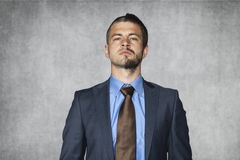 Serious man with a funny haircut Royalty Free Stock Image
