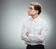 Serious man in glasses in profile Royalty Free Stock Images